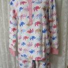 PJ Couture Pajama's Sleepwear Pink White Elephants  LARGE JRs. NEW SOFT