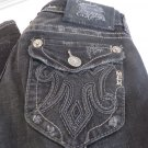 MEK DENIM JEANS OAXACA BLACK Distressed  Bootcut Miss Me Handcrafted 27 X 34.5