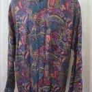 SHAH SAFARI SHIRT Paisley Retro Rayon Pocket Long Sleeve XL