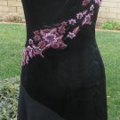 BETSEY JOHNSON SILK DRESS BLACK Sheer Flounce Salsa Style Embroidered SIZE ^