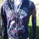 AFFLICTION LIVE FAST CALIFORNIA ROCK & ROLL Reversible Hoodie NEW Small Blue