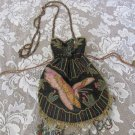 BEADED VICTORIAN BUTTERFLY Renaissance Retro Drawstring Gothic Costume PURSE BAG