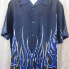 DRAGONFLY SHIRT NAVY BLUE FLAME Double Sided Print LARGE  Rock Roll Bowl NEW