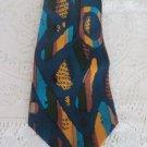 COOGI AUSTRALIA TIE Silk Hand Made BEAUTY Teal Blue Green Tans Golds NECKWARE