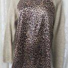 GJB NEW YORK Sweater Blouse Animal Print Medium NEW