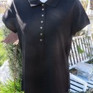 NWT TALBOTS Black Polo Rugby Active Wear Golf Career Soft SMALL