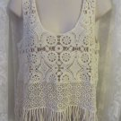 KAITLYN CROCHET FRINGE TOP Beige M NWT Adorable Lace Style Tank CamI SIS SIS