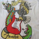 FENDER ROCK & ROLL TEE SHIRT Womens XL Ivory Graphic Scoop Neck top Blouse