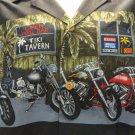 PARADISE FOUND Vtg  Hawaiian Shirt motorcycles tiki bar BLACK button front XL