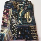 BURMA BIBAS SHIRT Rayon LARGE  Camp Shirt Button Front Multi Color Pocket