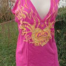 SINFUL PINK YELLOW TANK TUNIC Beach MEDIUM Cotton Heart Sun Flames