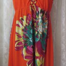 SILVER GATE  DRESS Large Vibrant Orange Multi Floral Braided Straps Beach Casual