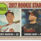 2017 Topps Heritage 396 Donnie Hart RC/Trey Mancini RC