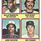 1976 Topps 592 Rookie Infielders/Willie Randolph RC/Dave McKay RC/Jerry Royster RC/Roy Staiger RC