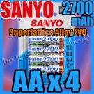 SANYO 4 x AA 2700 mAh Rechargeable NiMH Battery for Digital Camera Flashlight