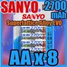 SANYO 8 x AA 2700 mAh Rechargeable NiMH Battery for Digital Camera Flashlight