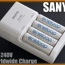 Sanyo 3 speed quick Charger MQR06W 4 AA 4UTGA Eneloop 2000mAh PreCharge Battery