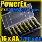Maha PowerEx 16 AA 2700 mAh Rechargeable Battery & Case