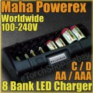 Maha PowerEx MH-C808M 8 Cell LED Charger AA AAA C D