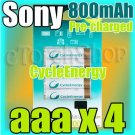 SONY CycleEnergy 4 aaa 800mAh PreCharged Rechargeable Ni-MH Battery Ready to Use