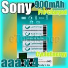SONY CycleEnergy 4 aaa 900mAh PreCharged Rechargeable Ni-MH Battery Ready To Use