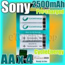 SONY CycleEnergy 4 AA 2500mAh PreCharged Rechargeable Ni-MH Battery Ready to Use