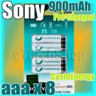 SONY CycleEnergy 8 aaa 900mAh PreCharged Rechargeable Ni-MH Battery Ready To Use