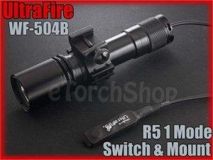 UltraFire WF 504B Cree R5 LED Pressure Switch 20mm Mount Flashlight Airsoft Set