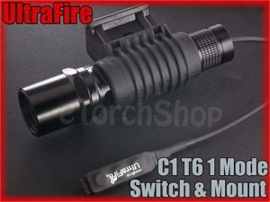 UltraFire C1 Cree XM-L T6 LED 1 Mode Flashlight With Mount / Pressure Switch Set