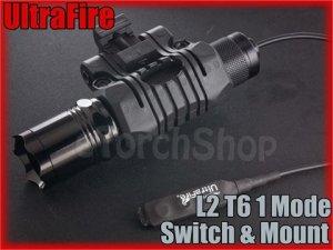 UltraFire L2 Cree XM-L T6 LED 1 Mode Flashlight With Mount / Pressure Switch Set
