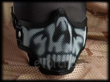 Airsoft Tactical Protection Steel Face Mask Black Skull