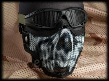 Protection Steel FaMask with Mesh Goggles Black Skull Airsoft Paintball Set