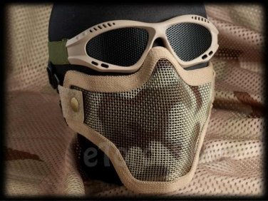 Protection Steel Face Mask with Mesh Goggles Desert Tan Camouflage Airsoft Set