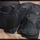 Protection Mesh Glasses Steel Face Mask Knee & Elbow X-Tak Pads SET (Black Color)
