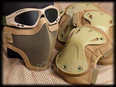 Protection Mesh Glasses Steel Face Mask Knee & Elbow X-Tak Pads SET (DT Color)