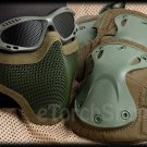 Protection Mesh Glasses Steel Face Mask Knee & Elbow X-Tak Pads SET (Green Color)