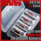 UltraFire 4x CR123A 3V Single Use Lithium Battery with Case