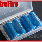 UltraFire 4 x LC 16340 880mAh Li ion Rechargeable Battery with Case CR123A