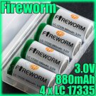 FireWorm 4 17335 3V 880mAh Rechargeable Battery & case