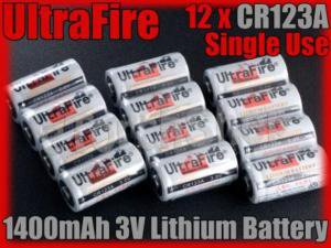 UltraFire 12 x CR123A 3V Single Use Lithium Battery 123