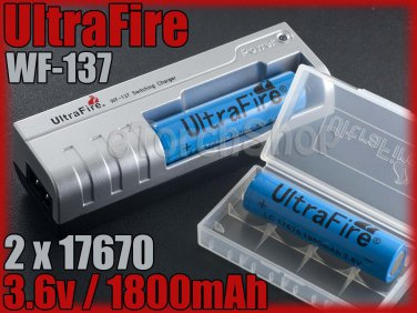Ultrafire WF 137 Charger 2x 17670 rechargeable battery