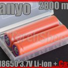 Sanyo 2x UR18650F 18650 2800mAh Lithium-ion Rechargeable Battery with Case Japan