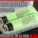 Panasonic 2x NCR18650B 18650 3400mAh Li-ion Rechargeable Battery w Case Japan