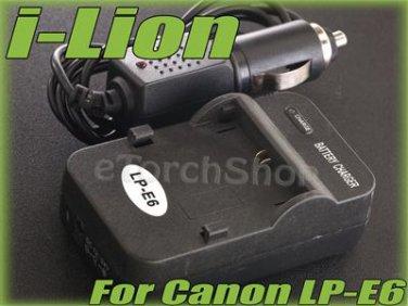 i-Lion LP-E6 Charger F Canon Battery Worldwild 100-240V US Plug W Car Adapter