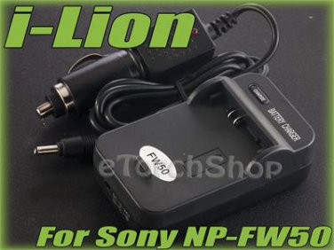 i-Lion NP-FW5 Charger F Sony Battery Worldwild 100-240V US Plug W Car Adapter
