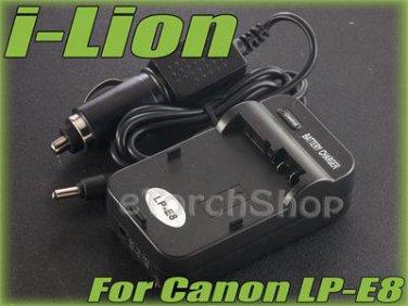 i-Lion LP-E8 Charger F Canon Battery Worldwild 100-240V US Plug W Car Adapter