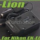 i-Lion EN-EL14 Charger F Nikon Battery Worldwild 100-240V US Plug W Car Adapter