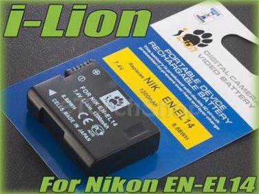 i-Lion EN-EL14 1200 mAh 7.4V Battery Japan Cells For Nikon D 5200 5100 3200 3100