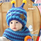 Baby Kids Honey Bee Hat With Scarf Warmer Toddler Crochet Beanie Cap MZ2270 Blue