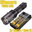 Nitecore TM03-CRI Set 2x NI18650D Battery New I2 LED Smart Charger Flashlight